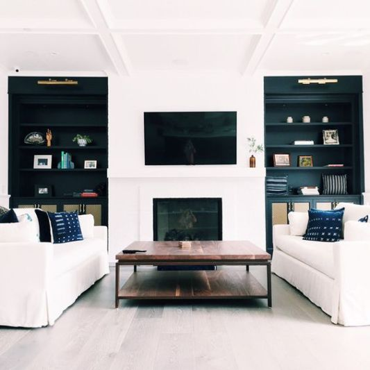 via pinterest TV In Family Room With Black Bookcases