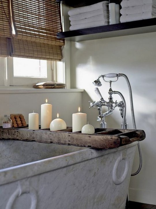 Wood Rustic Tray Over Trough Soaking Tub