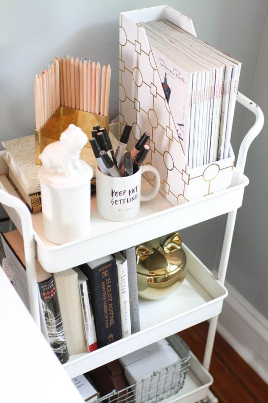 pinterest small white 3 tray cart for office supplies, books, magazines, pencil cup and wire out basket
