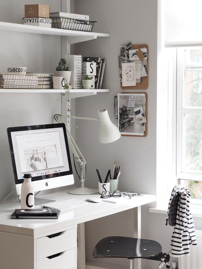 White Simple Desk with File, Adjustable White Wall Shelves Over Desk, Swivel Black Desk Chair, Desk Task Lamp, Bulletin Boards, Pencil Cups