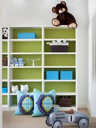 Green back painted bookcases