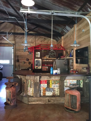 Guys Bar In A Barn, Bars In Garages, Vintage License Plates
