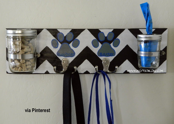 Board with Hooks, Jars for Doggie Treats and Potty Bags