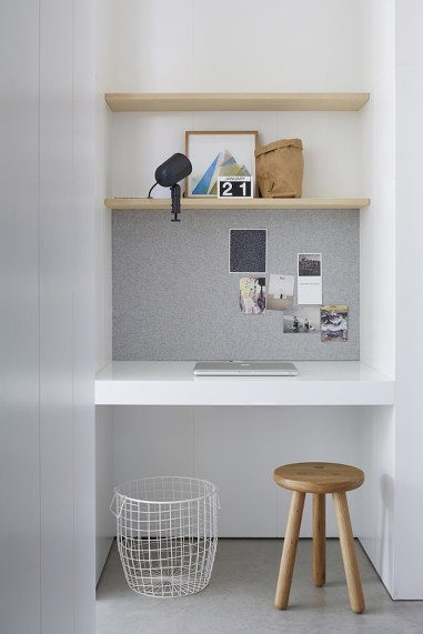 pinterest Built In Desk with 3 Shelves , Wire Basket and Wood Stool