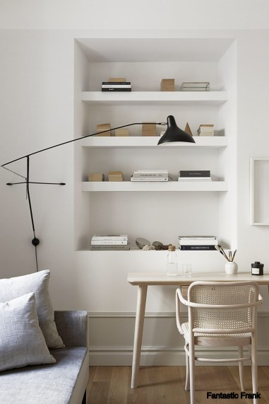 pinterest White Washed Desk with Built In Wall Cubbies