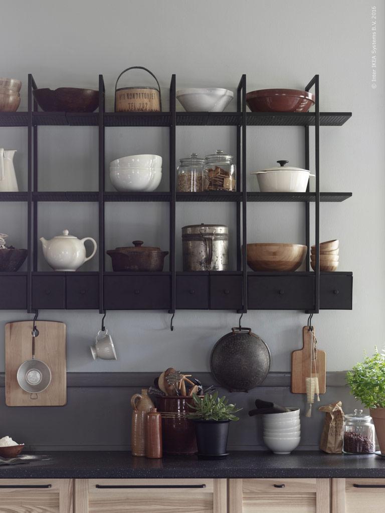 Ikea Dark Wall Shelf, Falsterbo