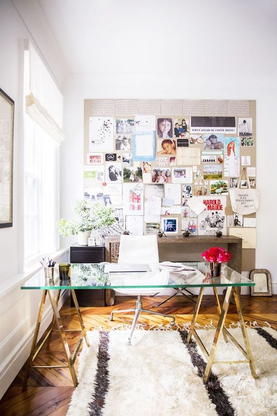 my domaine glass desk on brass sawhorses, full wall mood board