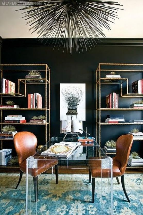 Pinterest and Atlanta Homes Acrylic Table with Leather Chairs As Office,Brass Bookcases On Black Wall, Blue Green Area Rug, Black Spiny Statement Light Fixture