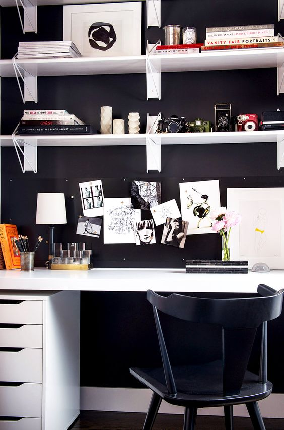 Pinterest Black and White Home Office