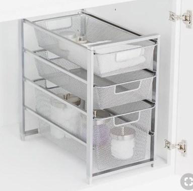 under bath vanity mesh bin pullout