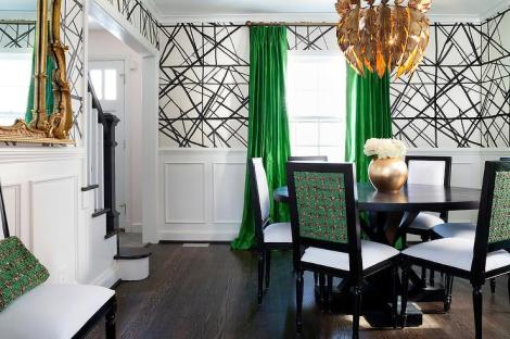Modern Dining Room with Gold Chandelier, Bright Green Drapes, Black&White Wallcovering
