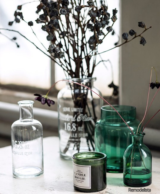 Green Glass Apothecary Candles and Bottles