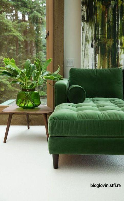 Velvet Chaise in Mid Century Style