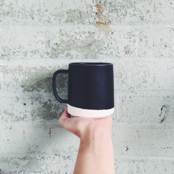 Black Mug with White Bottom