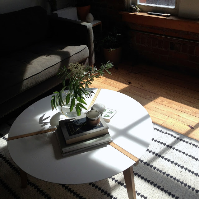 White Cocktail Table on Black and White Rug Flooded With Sunlight