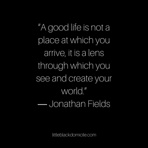 "A good life is not a place at which you arrive, it is a lens through which you see and create your world."" ― Jonathan Fields"