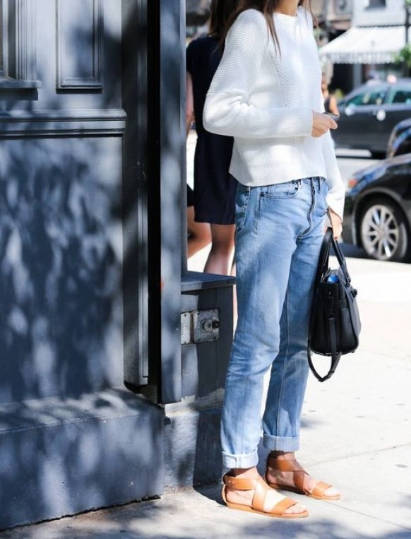 via pinterest Jeans, Sandels and Creamy Sweater