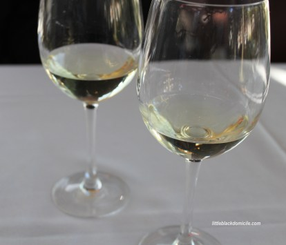 pair of white wine glasses