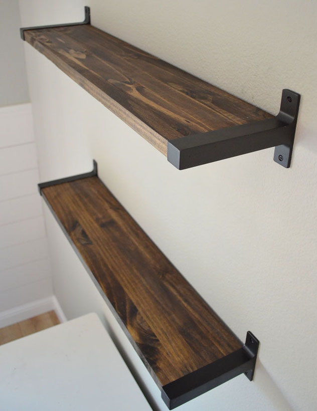 Restain Ikea's Birch Ekby Shelf and Spray The Brackets Black For A Totally Custom Look- Shade of Teal
