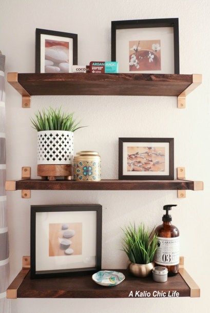Ikea EKBY Birch Stained Dark Shelves with Gold Brackets