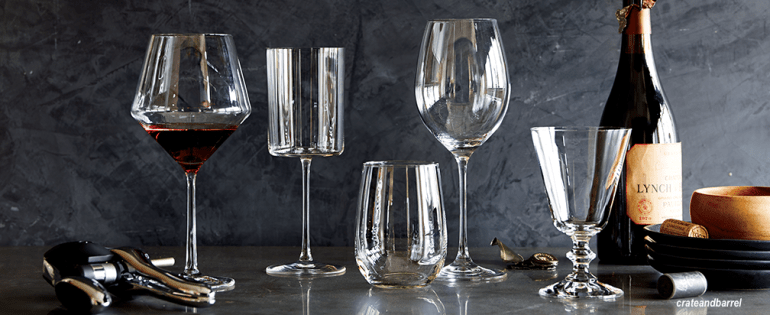 crate and barrel mixed wine glasses ...they are all vessels...let happy hour begin