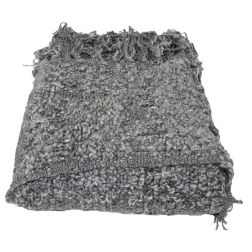 Boucle Throw. Grey lightweight and very soft with fringe.