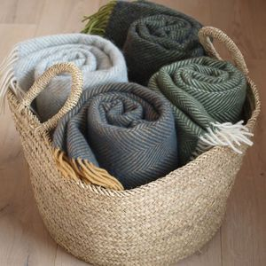 Basket Of Throws For Gathering Around The Firepit