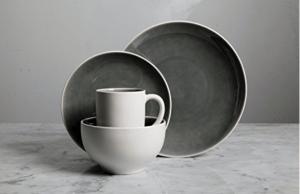 Gibson Grey/White Elite Dinnerware