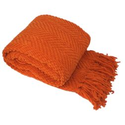 Orange Throw with A Beautiful knit design with diamond patterns with a plush feel and look.