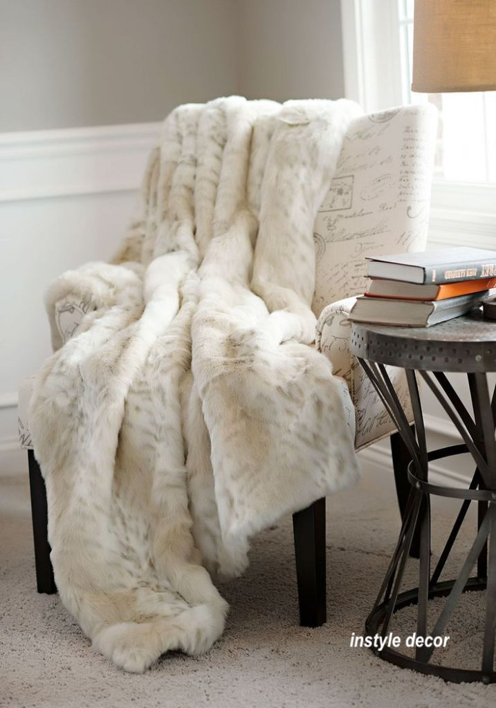 instyle decor neutral wing chair with furry , soft throw