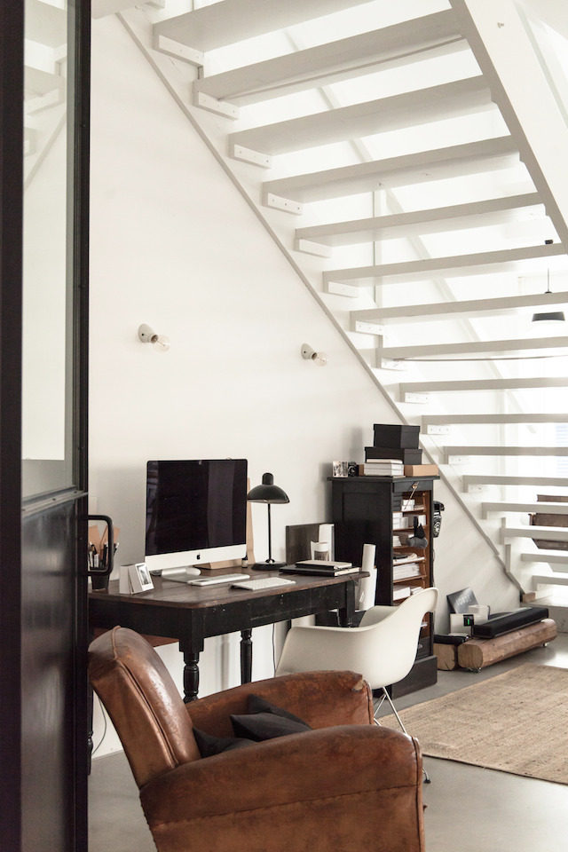Scandinavian Home Office Work Station Under Open Stairway