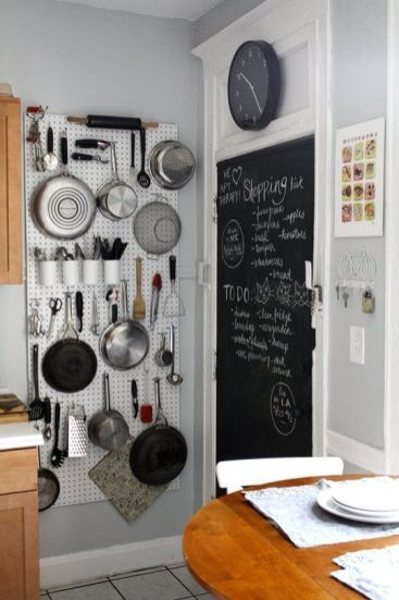 Tall White Pegboard in Small Kitchen