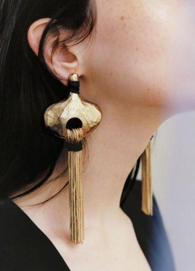 Gold and Black Long Drop Earrings