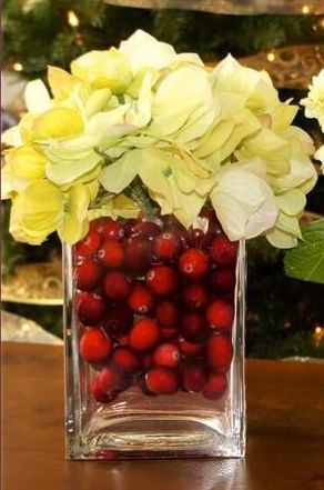 Cranberries with White Poinsettias