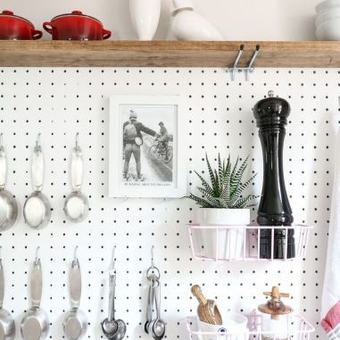 shelf on top of pegboard