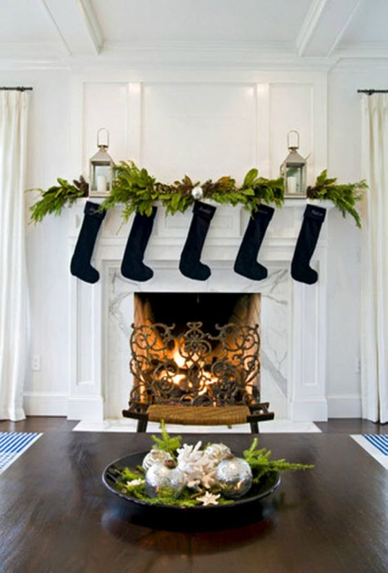 homeedit fireplace with black christmas stockings
