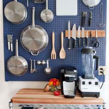 Navy Blue Pegboard Over Bar Cart