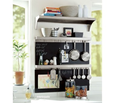 Ledge and Hook Board Storage In Kitchen