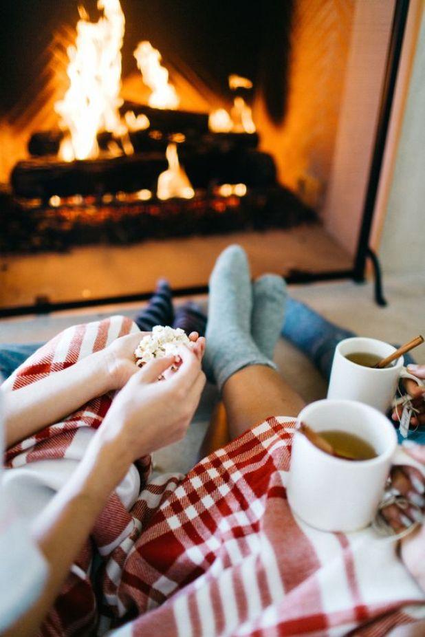 Pinterest Fireplace-Hot Tea-Popcorn-Fireplaces-Fuzzy Socks