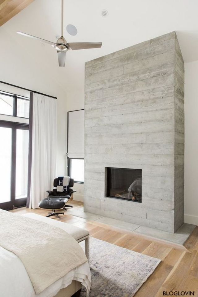 Bloglovin Washed Barnwood-Fireplace-Wood Floors-Stainless Steel Ceiling Fan