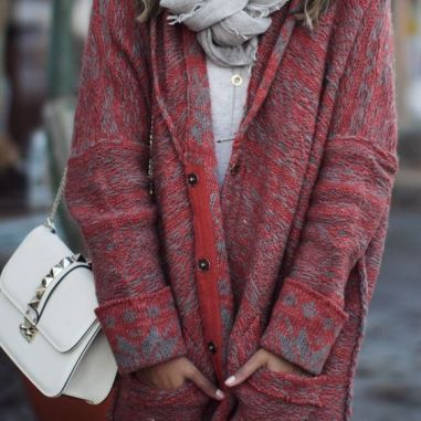 tumblr red and grey patterned long sweater coat