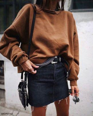 shop style black denim skirt