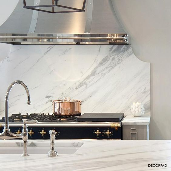 Decorpad Marble Counters and Black Splash with Extended Deck Chrome Faucet