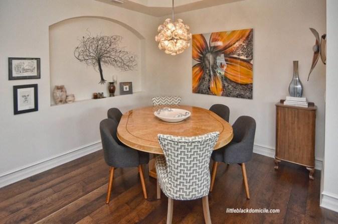 littleblackdomicile and laurelbledsoedesign orange and gray infused dining room