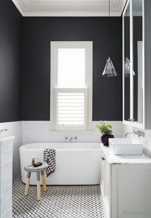 Pinterest Black Wall Bathroom