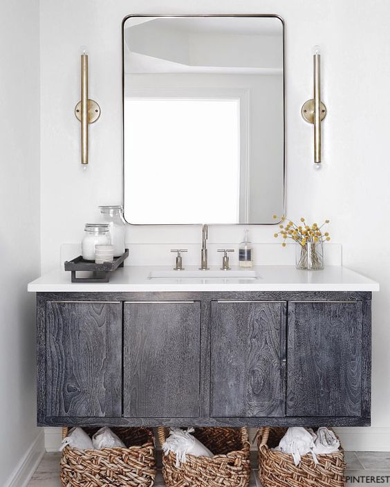 Moen Gibson Bath Vanity Faucet on Washed Gray Wall Mounted Cabinet