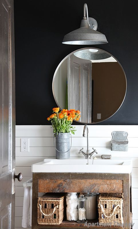 Apartment Therapy Navy Wall Bathroom