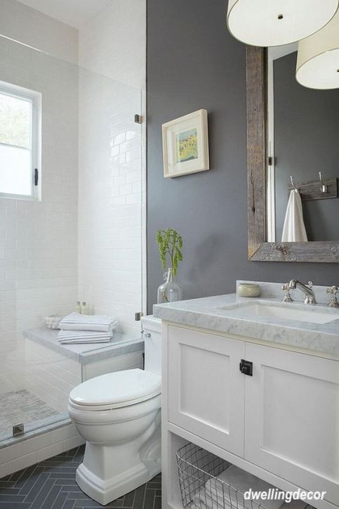 dwelling decor gray wall bathroom