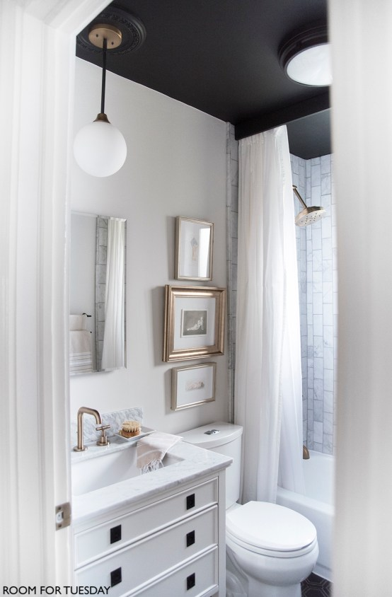 Room For Tuesday Bathroom with Black Ceiling, Brushed Chrome Vanity Faucet