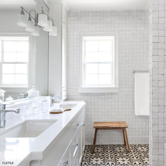 Cletile White Vanity and Countertops with Chrome Grohe Bauloop Faucet